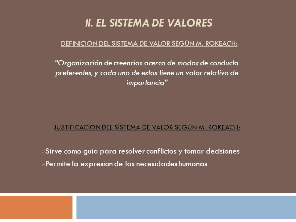 II. EL SISTEMA DE VALORES DEFINICION DEL SISTEMA DE VALOR SEGÚN M. ROKEACH: Sirve como guia para resolver conflictos y tomar decisiones Permite la exp