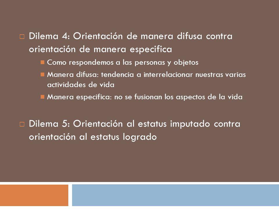 Dilema 4: Orientación de manera difusa contra orientación de manera especifica Como respondemos a las personas y objetos Manera difusa: tendencia a in