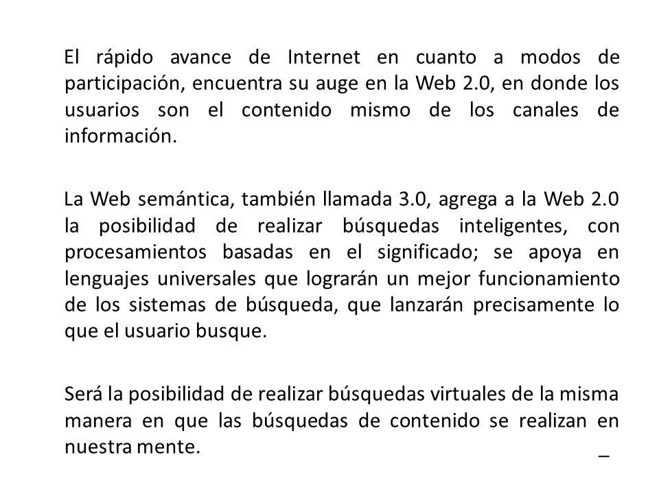 El rápido avance de Internet en cuanto a modos de participación, encuentra su auge en la Web 2.0, en donde los usuarios son el contenido mismo de los