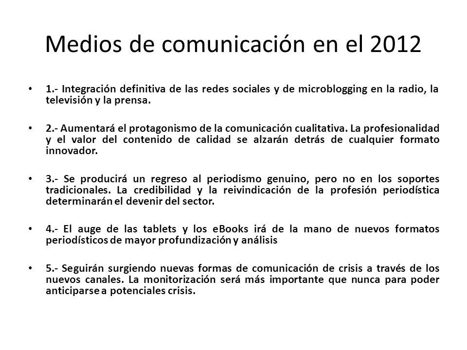 Medios de comunicación en el 2012 1.- Integración definitiva de las redes sociales y de microblogging en la radio, la televisión y la prensa. 2.- Aume