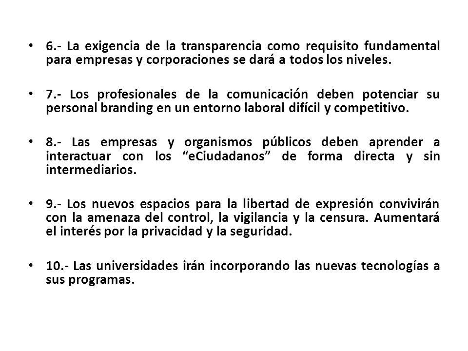 6.- La exigencia de la transparencia como requisito fundamental para empresas y corporaciones se dará a todos los niveles. 7.- Los profesionales de la