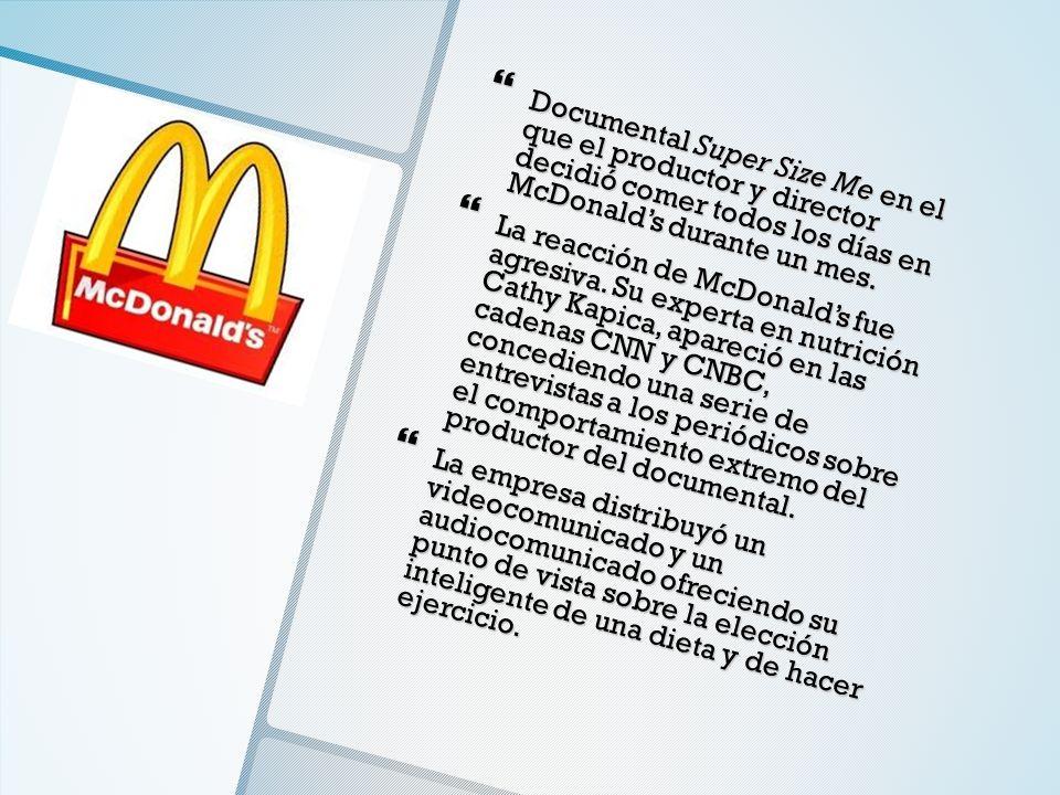 Documental Super Size Me en el que el productor y director decidió comer todos los días en McDonalds durante un mes. Documental Super Size Me en el qu