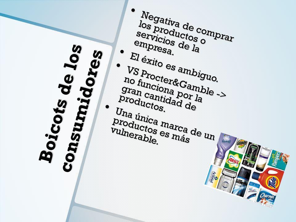 Boicots de los consumidores Negativa de comprar los productos o servicios de la empresa. Negativa de comprar los productos o servicios de la empresa.