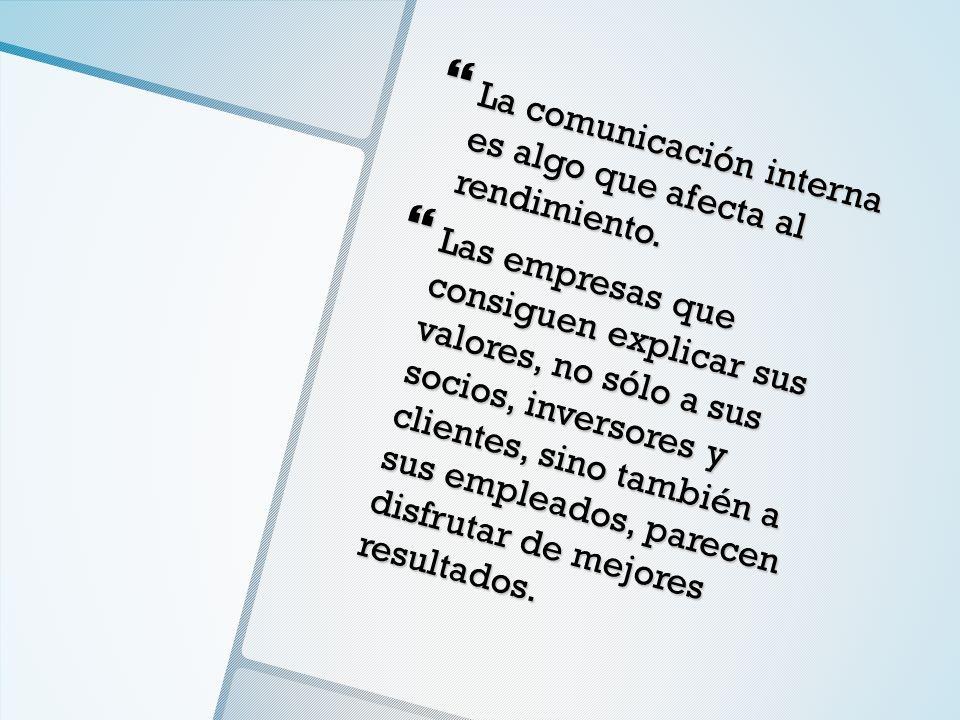 La comunicación interna es algo que afecta al rendimiento. La comunicación interna es algo que afecta al rendimiento. Las empresas que consiguen expli