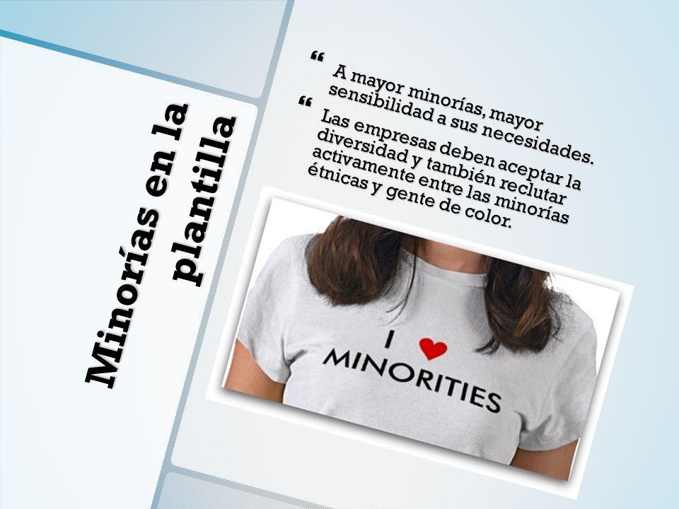 Minorías en la plantilla A mayor minorías, mayor sensibilidad a sus necesidades. A mayor minorías, mayor sensibilidad a sus necesidades. Las empresas