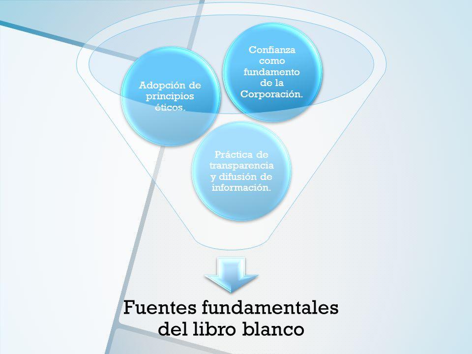 Fuentes fundamentales del libro blanco Práctica de transparencia y difusión de información. Adopción de principios éticos. Confianza como fundamento d