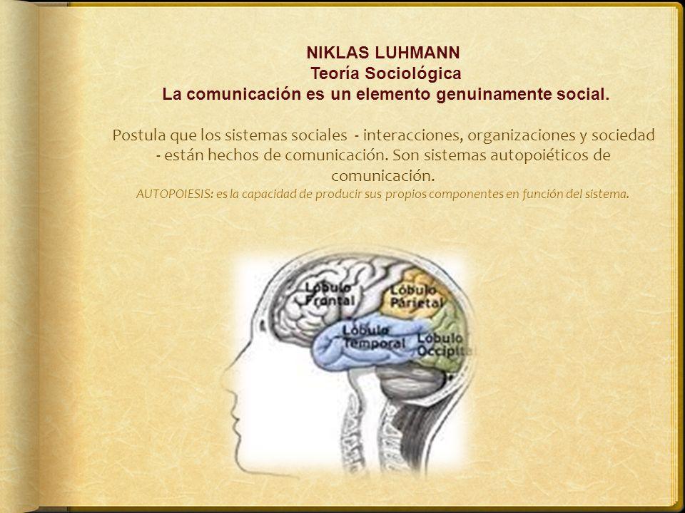 NIKLAS LUHMANN Teoría Sociológica La comunicación es un elemento genuinamente social. Postula que los sistemas sociales - interacciones, organizacione