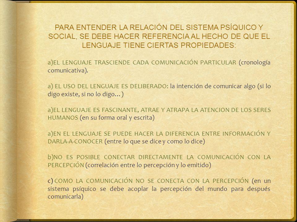 PARA ENTENDER LA RELACIÓN DEL SISTEMA PSÍQUICO Y SOCIAL, SE DEBE HACER REFERENCIA AL HECHO DE QUE EL LENGUAJE TIENE CIERTAS PROPIEDADES: a)EL LENGUAJE