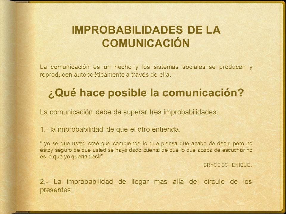 IMPROBABILIDADES DE LA COMUNICACIÓN La comunicación es un hecho y los sistemas sociales se producen y reproducen autopoéticamente a través de ella. ¿Q