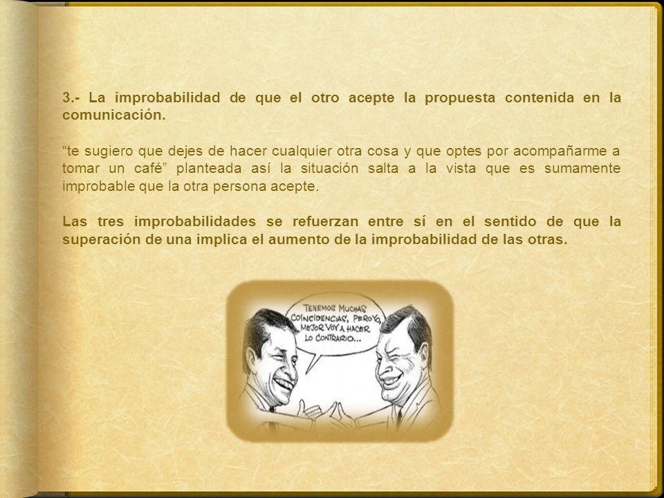 3.- La improbabilidad de que el otro acepte la propuesta contenida en la comunicación. te sugiero que dejes de hacer cualquier otra cosa y que optes p