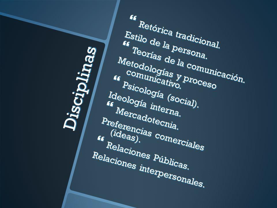Disciplinas Retórica tradicional. Retórica tradicional. Estilo de la persona. Teorías de la comunicación. Teorías de la comunicación. Metodologías y p