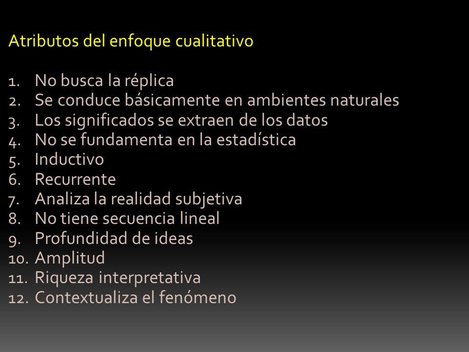 Atributos del enfoque cualitativo 1. No busca la réplica 2. Se conduce básicamente en ambientes naturales 3. Los significados se extraen de los datos