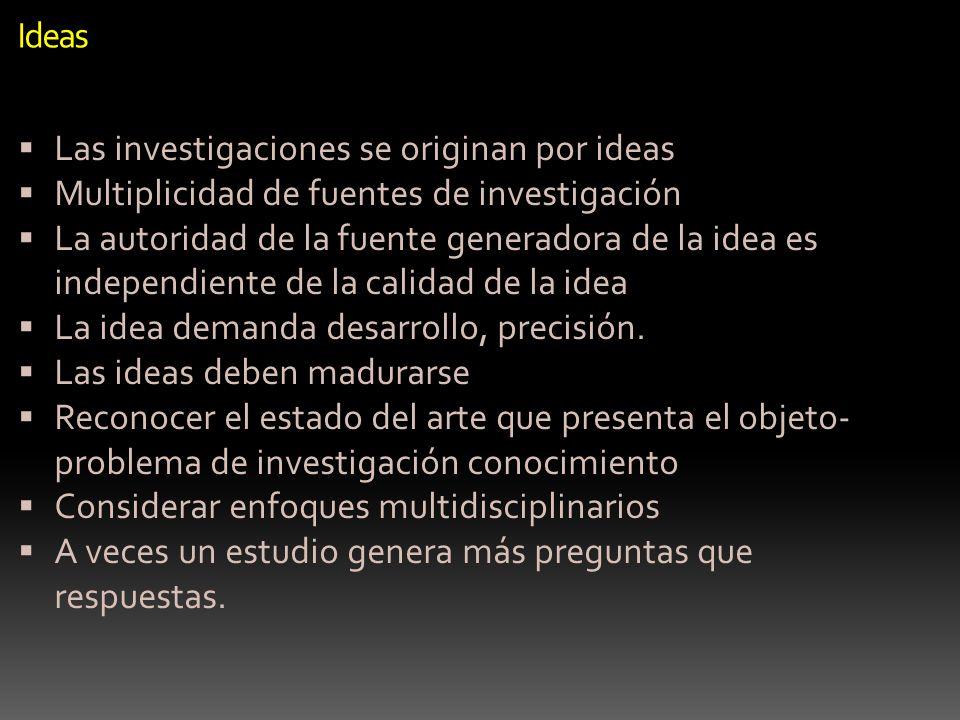 Ideas Las investigaciones se originan por ideas Multiplicidad de fuentes de investigación La autoridad de la fuente generadora de la idea es independi