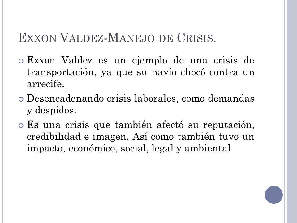 E XXON V ALDEZ -M ANEJO DE C RISIS. Exxon Valdez es un ejemplo de una crisis de transportación, ya que su navío chocó contra un arrecife. Desencadenan