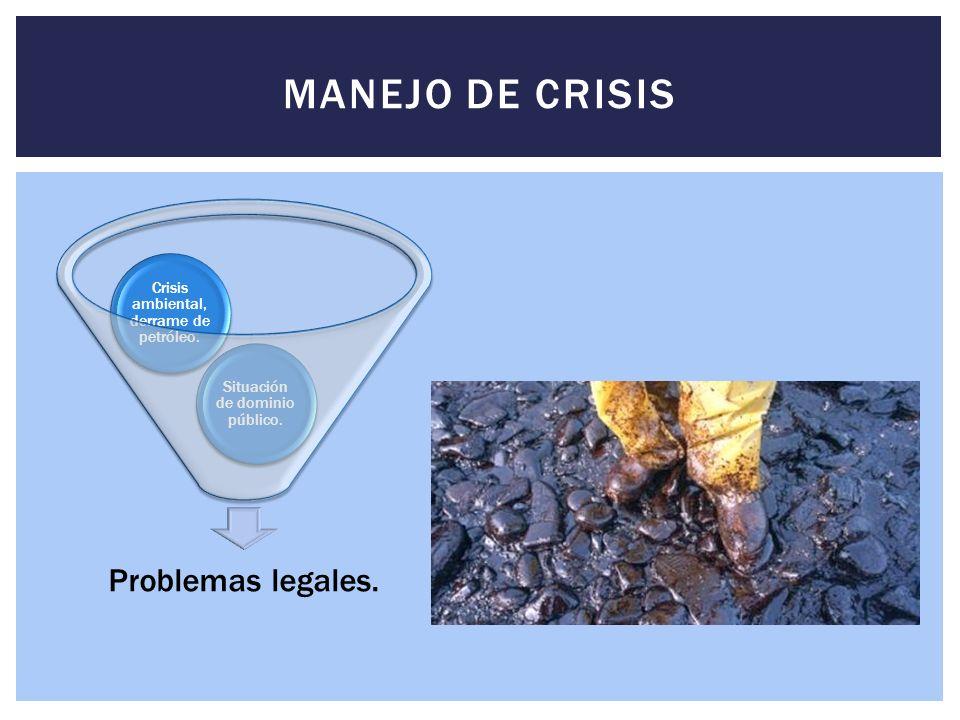 Problemas legales.Situación de dominio público. Crisis ambiental, derrame de petróleo.