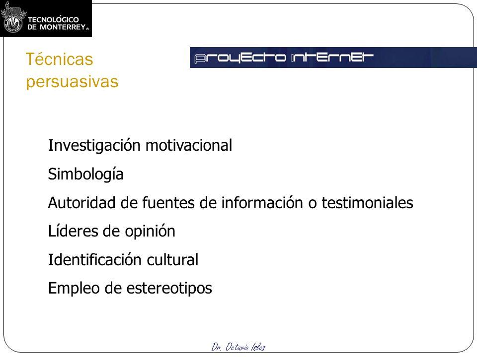 Dr. Octavio Islas Investigación motivacional Simbología Autoridad de fuentes de información o testimoniales Líderes de opinión Identificación cultural