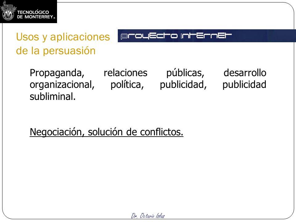 Dr. Octavio Islas Propaganda, relaciones públicas, desarrollo organizacional, política, publicidad, publicidad subliminal. Negociación, solución de co