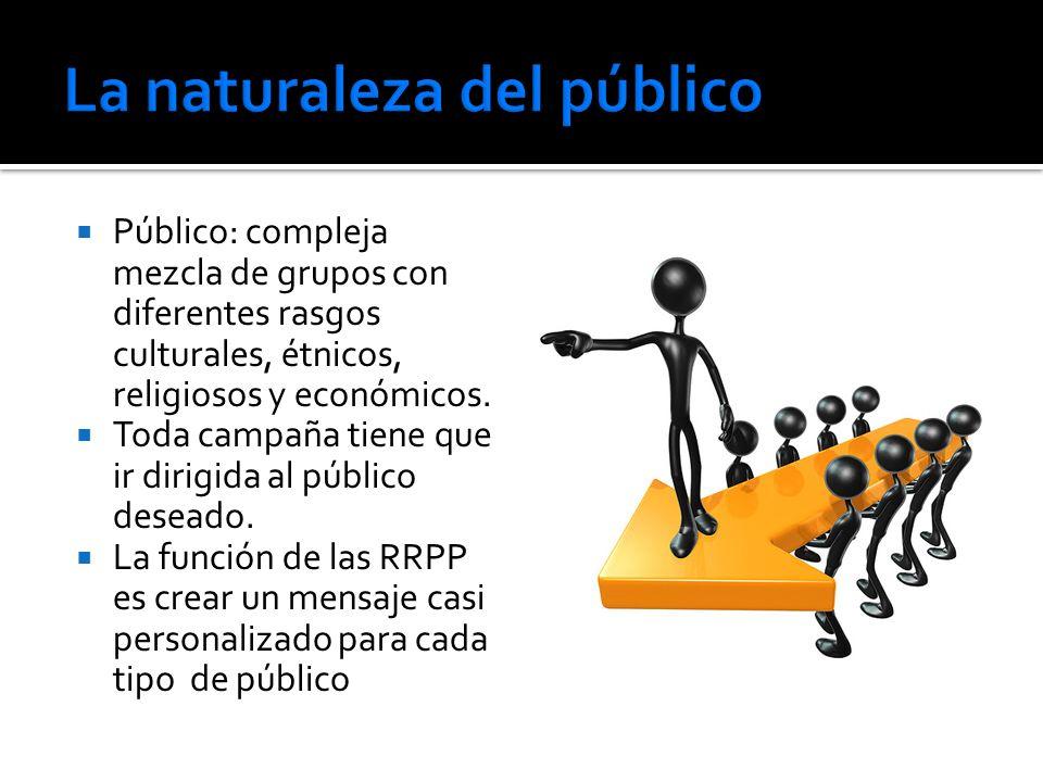 Público: compleja mezcla de grupos con diferentes rasgos culturales, étnicos, religiosos y económicos. Toda campaña tiene que ir dirigida al público d