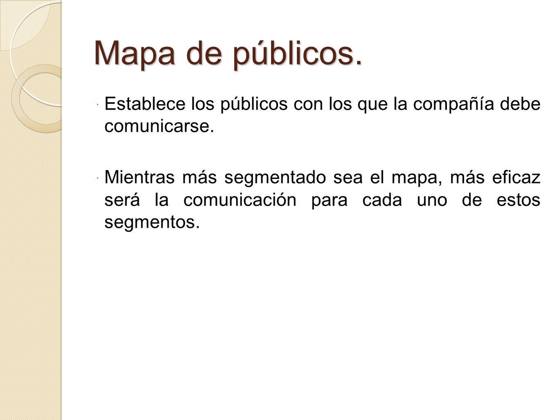 Mapa de públicos. Establece los públicos con los que la compañía debe comunicarse. Mientras más segmentado sea el mapa, más eficaz será la comunicació