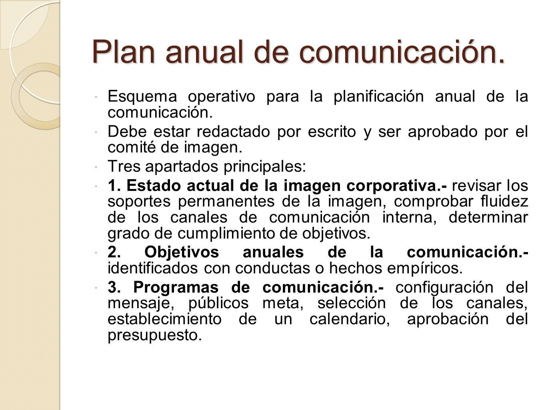 Plan anual de comunicación. Esquema operativo para la planificación anual de la comunicación. Debe estar redactado por escrito y ser aprobado por el c