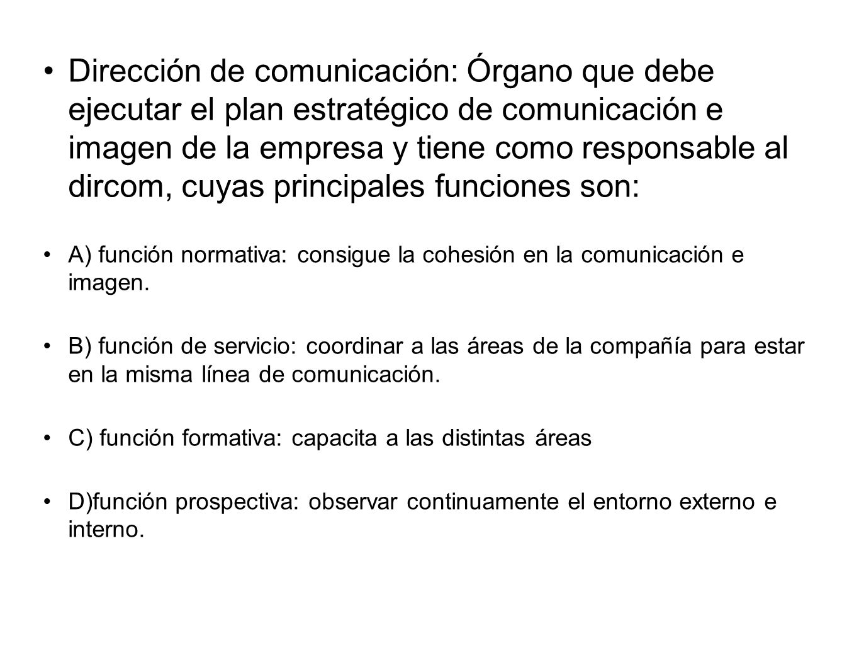 Dirección de comunicación: Órgano que debe ejecutar el plan estratégico de comunicación e imagen de la empresa y tiene como responsable al dircom, cuy