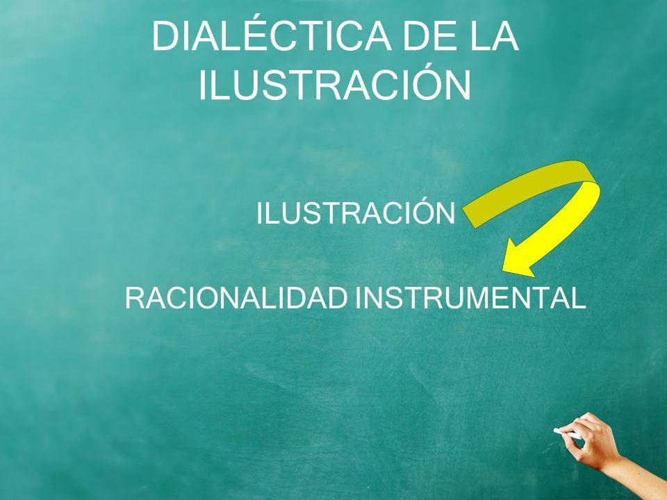DIALÉCTICA DE LA ILUSTRACIÓN ILUSTRACIÓN RACIONALIDAD INSTRUMENTAL