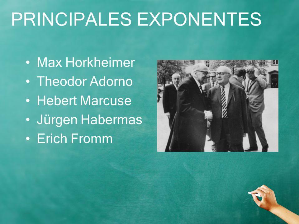 PRINCIPALES EXPONENTES Max Horkheimer Theodor Adorno Hebert Marcuse Jürgen Habermas Erich Fromm