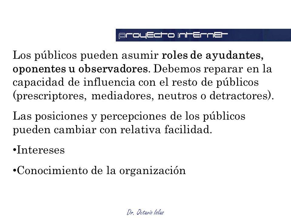 Dr. Octavio Islas Los públicos pueden asumir roles de ayudantes, oponentes u observadores. Debemos reparar en la capacidad de influencia con el resto