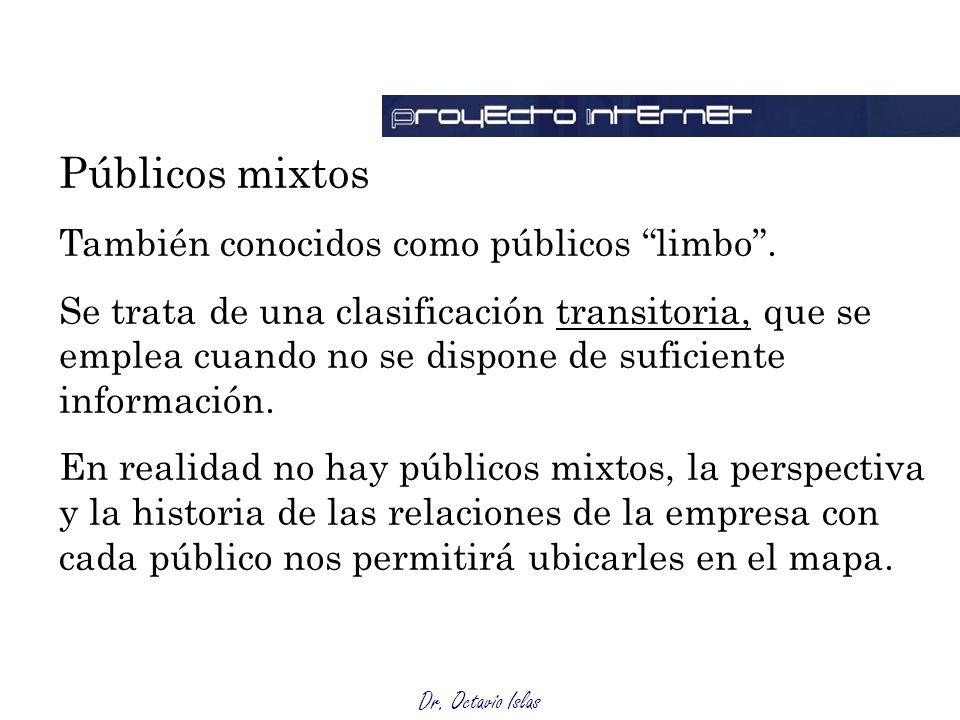 Dr. Octavio Islas Públicos mixtos También conocidos como públicos limbo. Se trata de una clasificación transitoria, que se emplea cuando no se dispone