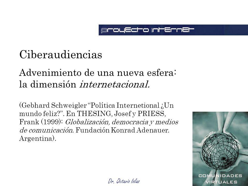 Dr. Octavio Islas Ciberaudiencias Advenimiento de una nueva esfera: la dimensión internetacional. (Gebhard Schweigler Política Internetional ¿Un mundo