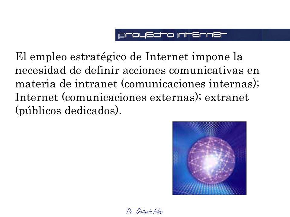Dr. Octavio Islas El empleo estratégico de Internet impone la necesidad de definir acciones comunicativas en materia de intranet (comunicaciones inter