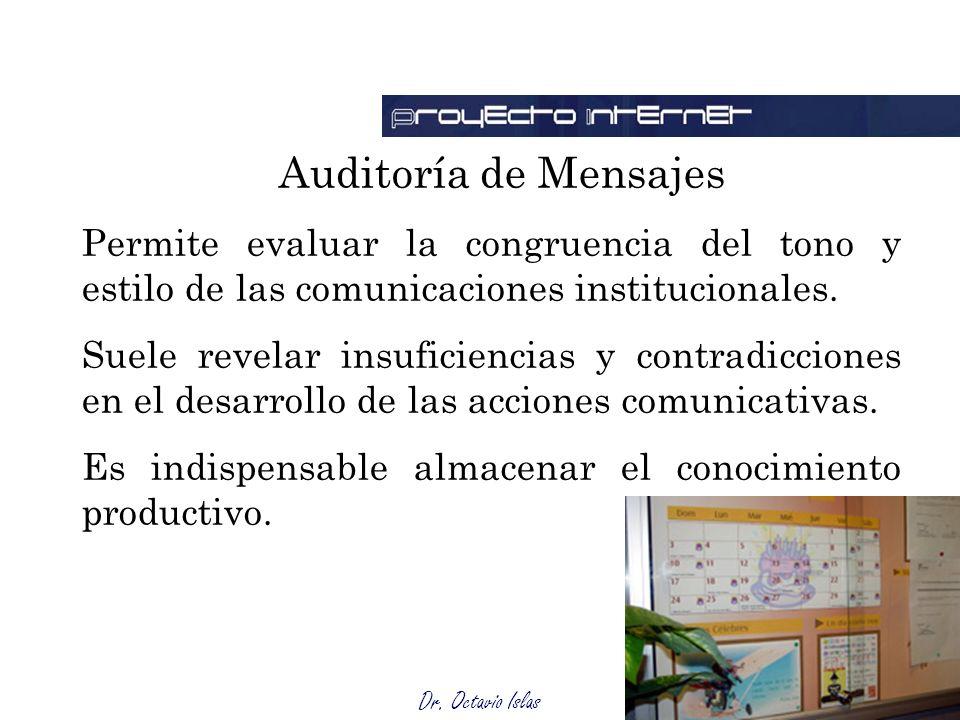 Dr. Octavio Islas Auditoría de Mensajes Permite evaluar la congruencia del tono y estilo de las comunicaciones institucionales. Suele revelar insufici