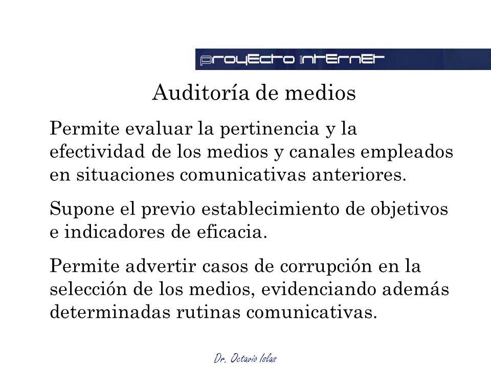 Dr. Octavio Islas Auditoría de medios Permite evaluar la pertinencia y la efectividad de los medios y canales empleados en situaciones comunicativas a