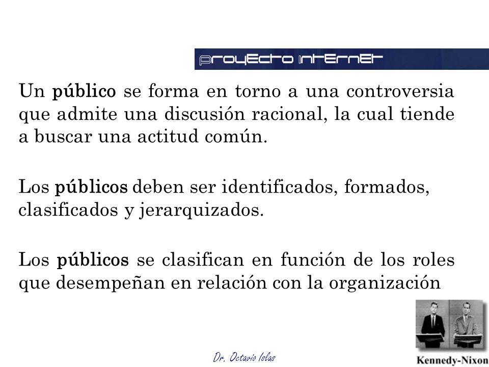 Dr. Octavio Islas Un público se forma en torno a una controversia que admite una discusión racional, la cual tiende a buscar una actitud común. Los pú