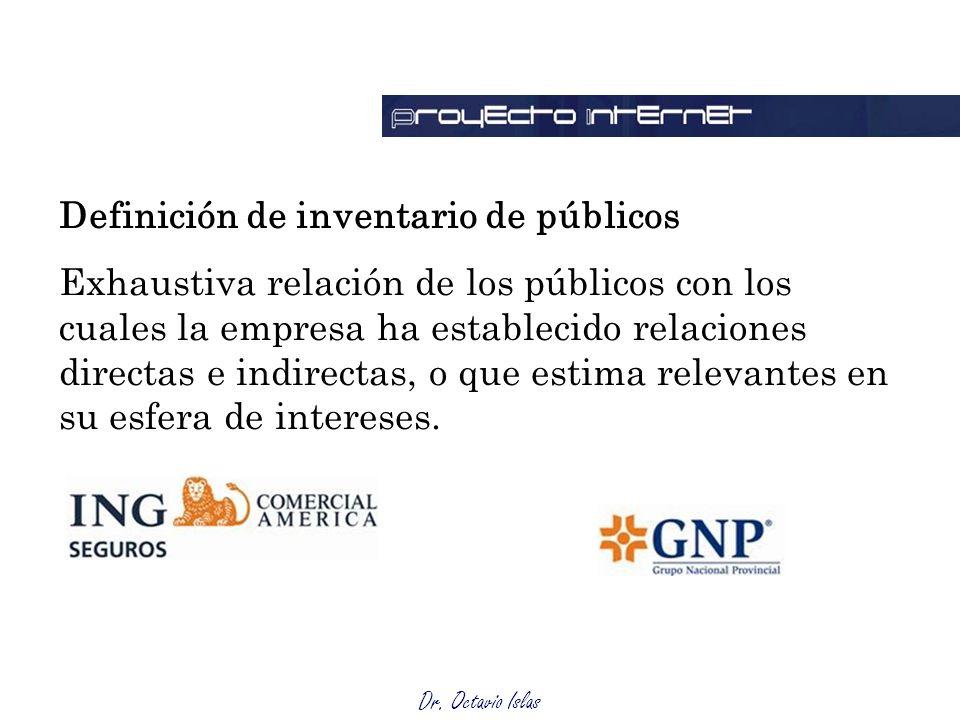 Dr. Octavio Islas Definición de inventario de públicos Exhaustiva relación de los públicos con los cuales la empresa ha establecido relaciones directa