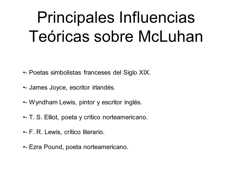 Principales Influencias Teóricas sobre McLuhan - Poetas simbolistas franceses del Siglo XIX. - James Joyce, escritor irlandés. - Wyndham Lewis, pintor