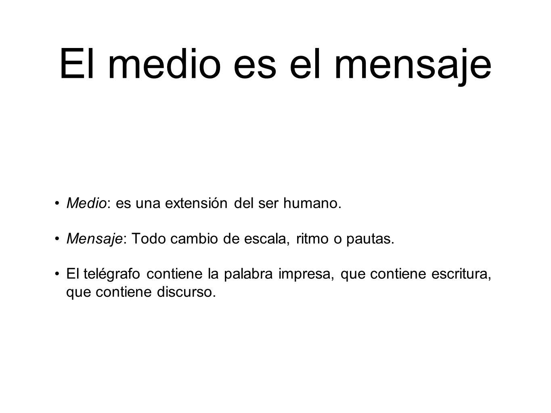 El medio es el mensaje Medio: es una extensión del ser humano. Mensaje: Todo cambio de escala, ritmo o pautas. El telégrafo contiene la palabra impres