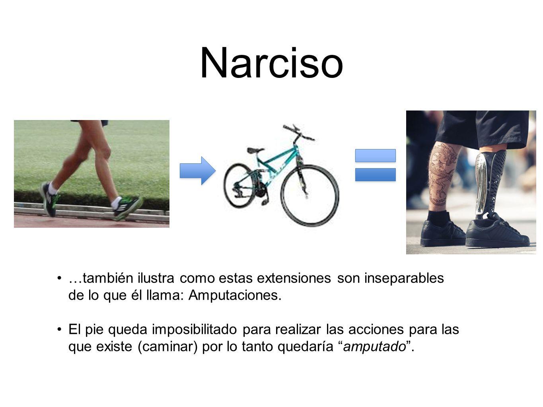 Narciso …también ilustra como estas extensiones son inseparables de lo que él llama: Amputaciones. El pie queda imposibilitado para realizar las accio