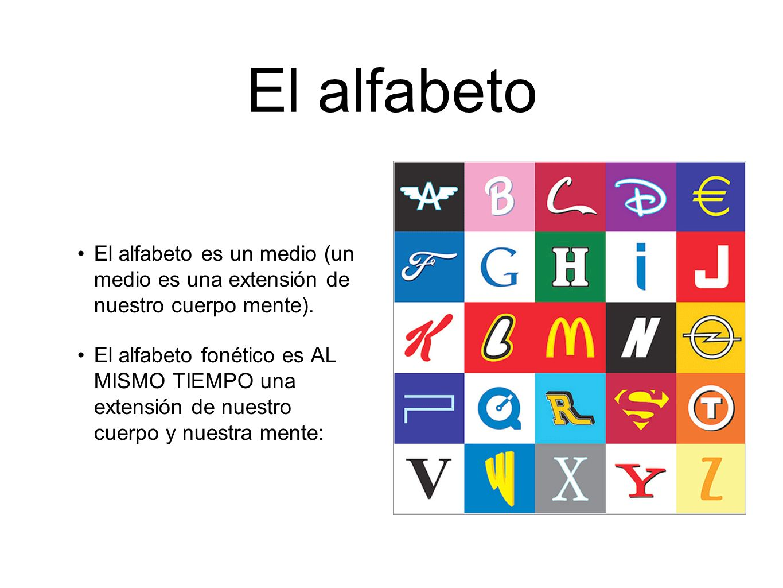 El alfabeto El alfabeto es un medio (un medio es una extensión de nuestro cuerpo mente). El alfabeto fonético es AL MISMO TIEMPO una extensión de nues