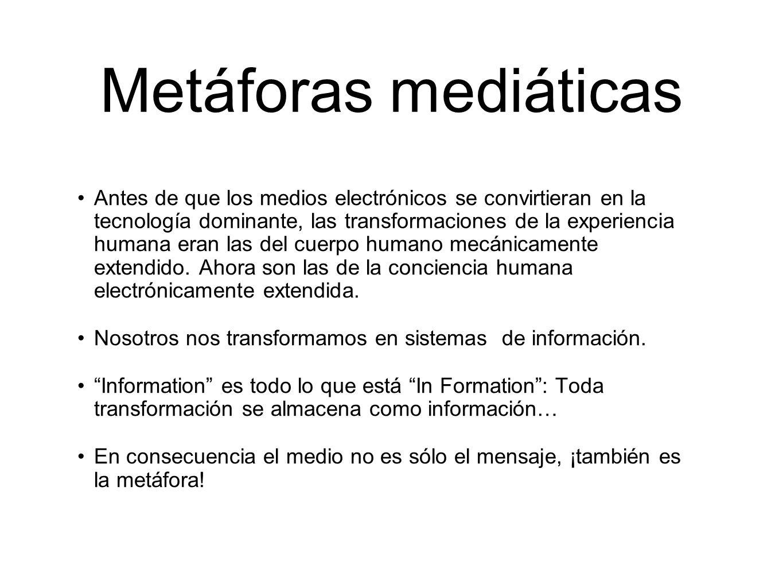 Metáforas mediáticas Antes de que los medios electrónicos se convirtieran en la tecnología dominante, las transformaciones de la experiencia humana er