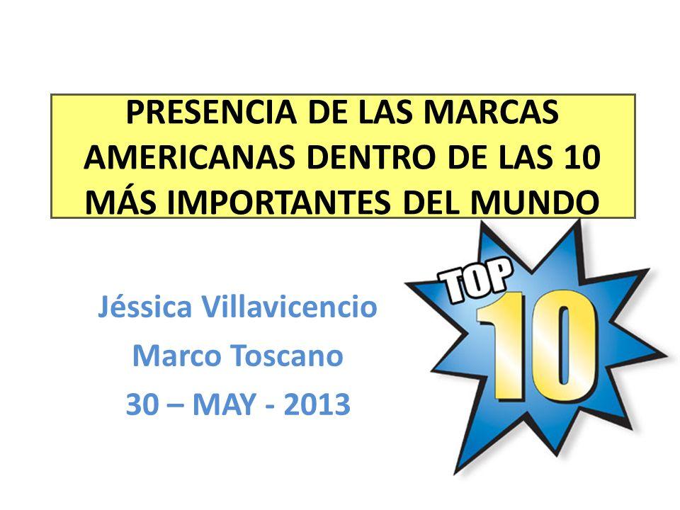 PRESENCIA DE LAS MARCAS AMERICANAS DENTRO DE LAS 10 MÁS IMPORTANTES DEL MUNDO Jéssica Villavicencio Marco Toscano 30 – MAY - 2013