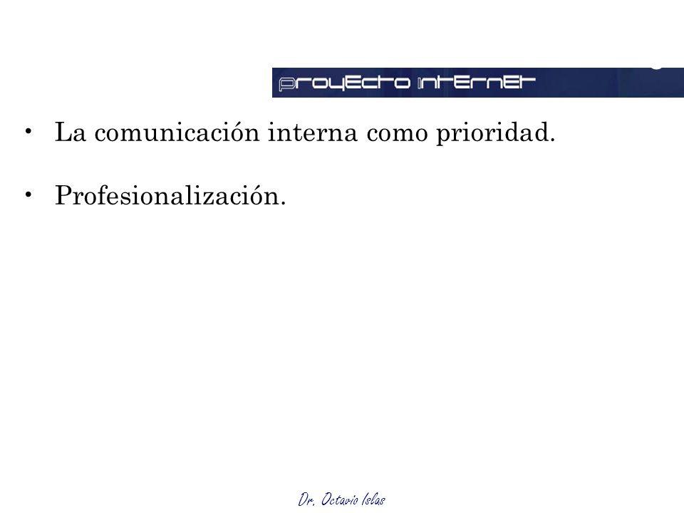 Dr. Octavio Islas La comunicación interna como prioridad. Profesionalización. Outsourcing