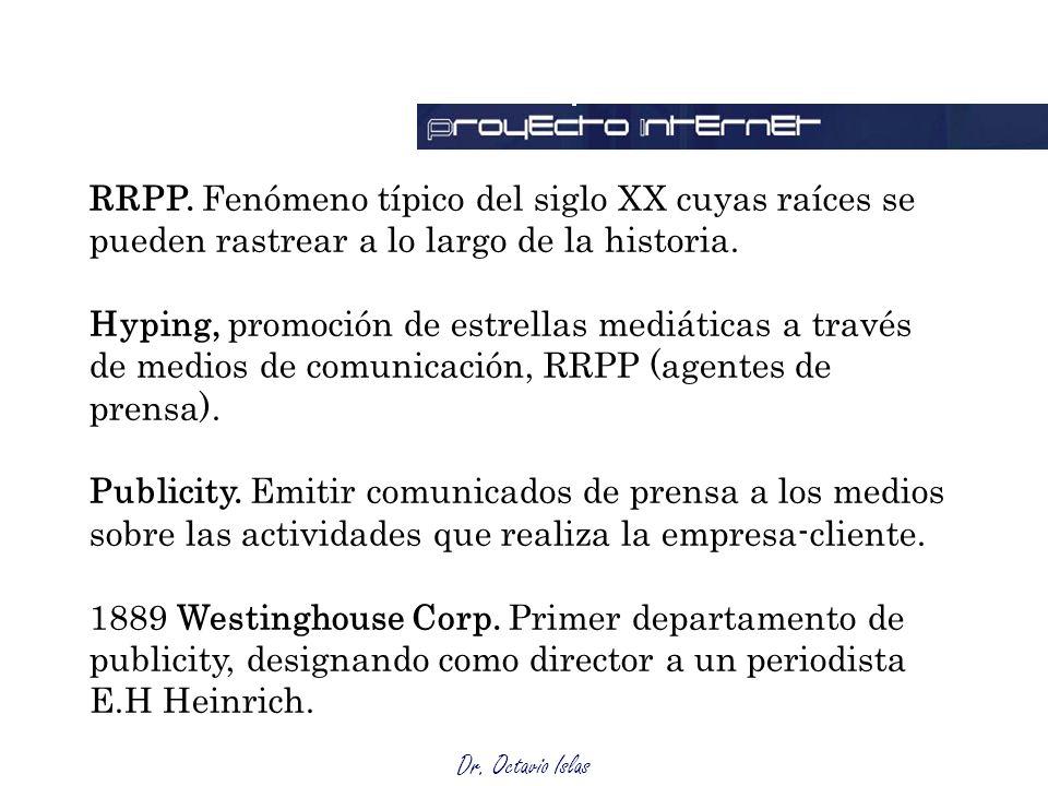 Dr. Octavio Islas RRPP. Fenómeno típico del siglo XX cuyas raíces se pueden rastrear a lo largo de la historia. Hyping, promoción de estrellas mediáti
