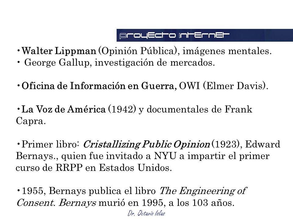 Dr. Octavio Islas Walter Lippman (Opinión Pública), imágenes mentales. George Gallup, investigación de mercados. Oficina de Información en Guerra, OWI