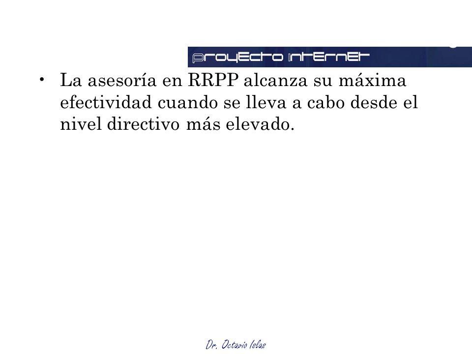 Dr. Octavio Islas La asesoría en RRPP alcanza su máxima efectividad cuando se lleva a cabo desde el nivel directivo más elevado. Outsourcing