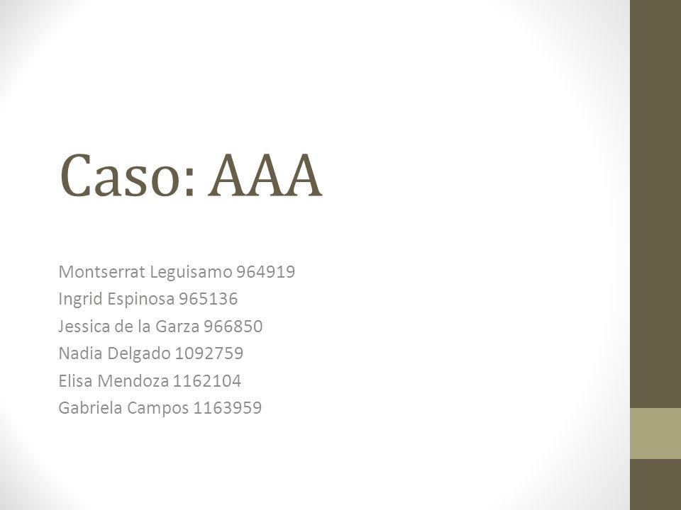 Caso: AAA Montserrat Leguisamo 964919 Ingrid Espinosa 965136 Jessica de la Garza 966850 Nadia Delgado 1092759 Elisa Mendoza 1162104 Gabriela Campos 11