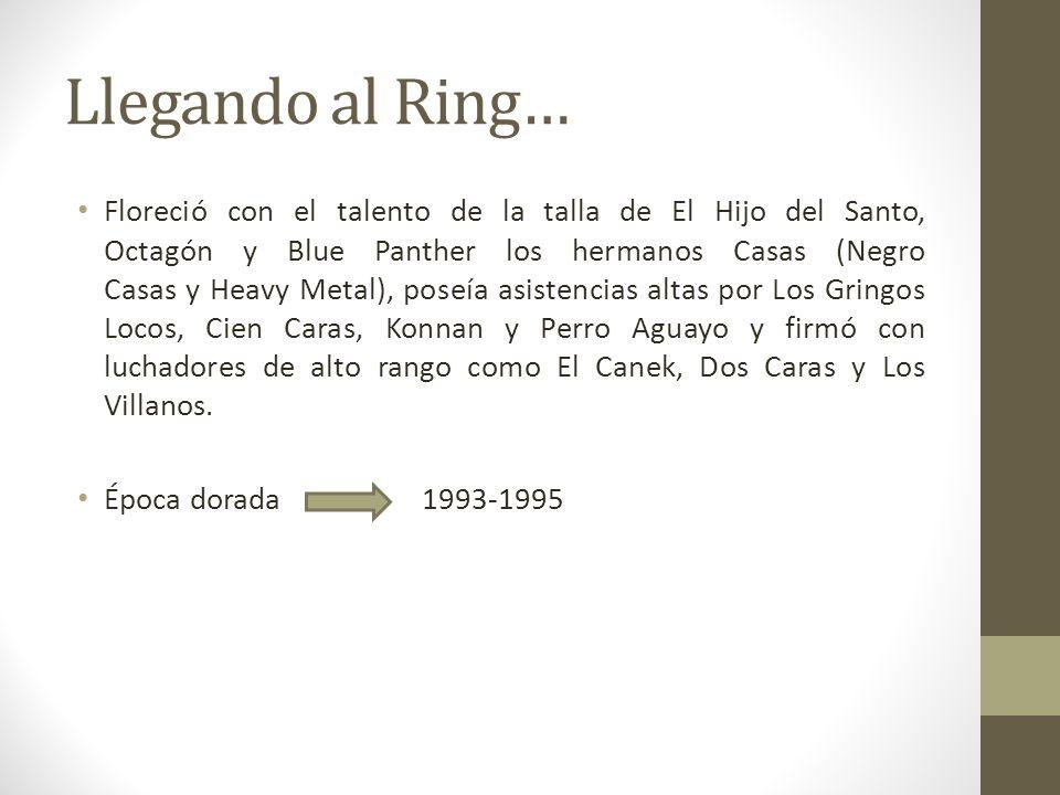 Llegando al Ring… Floreció con el talento de la talla de El Hijo del Santo, Octagón y Blue Panther los hermanos Casas (Negro Casas y Heavy Metal), pos