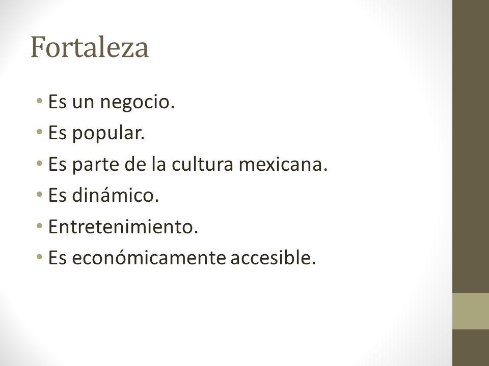 Fortaleza Es un negocio. Es popular. Es parte de la cultura mexicana. Es dinámico. Entretenimiento. Es económicamente accesible.
