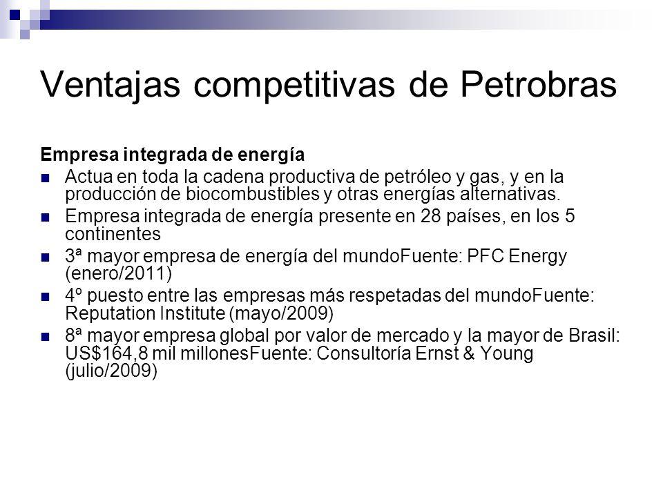Ventajas competitivas de Petrobras Empresa integrada de energía Actua en toda la cadena productiva de petróleo y gas, y en la producción de biocombust