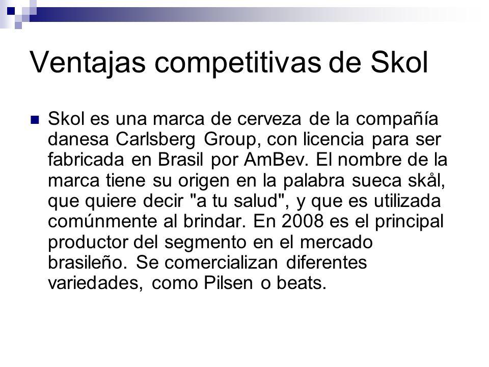 Ventajas competitivas de Skol Skol es una marca de cerveza de la compañía danesa Carlsberg Group, con licencia para ser fabricada en Brasil por AmBev.